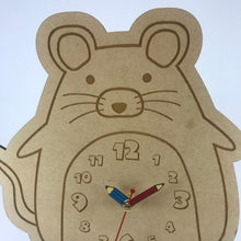Load image into Gallery viewer, Kids Hanging Clock (Cute Mouse) with Custom Engraving - Wilson-Made