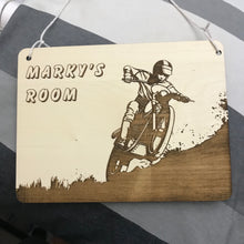 Load image into Gallery viewer, Kids Hanging Name Tag (Dirt Bike) with Custom Engraving - Wilson-Made