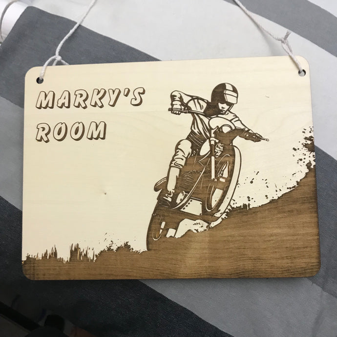 Hanging Name Tag (Dirt Bike) with Custom Engraving - Wilson-Made