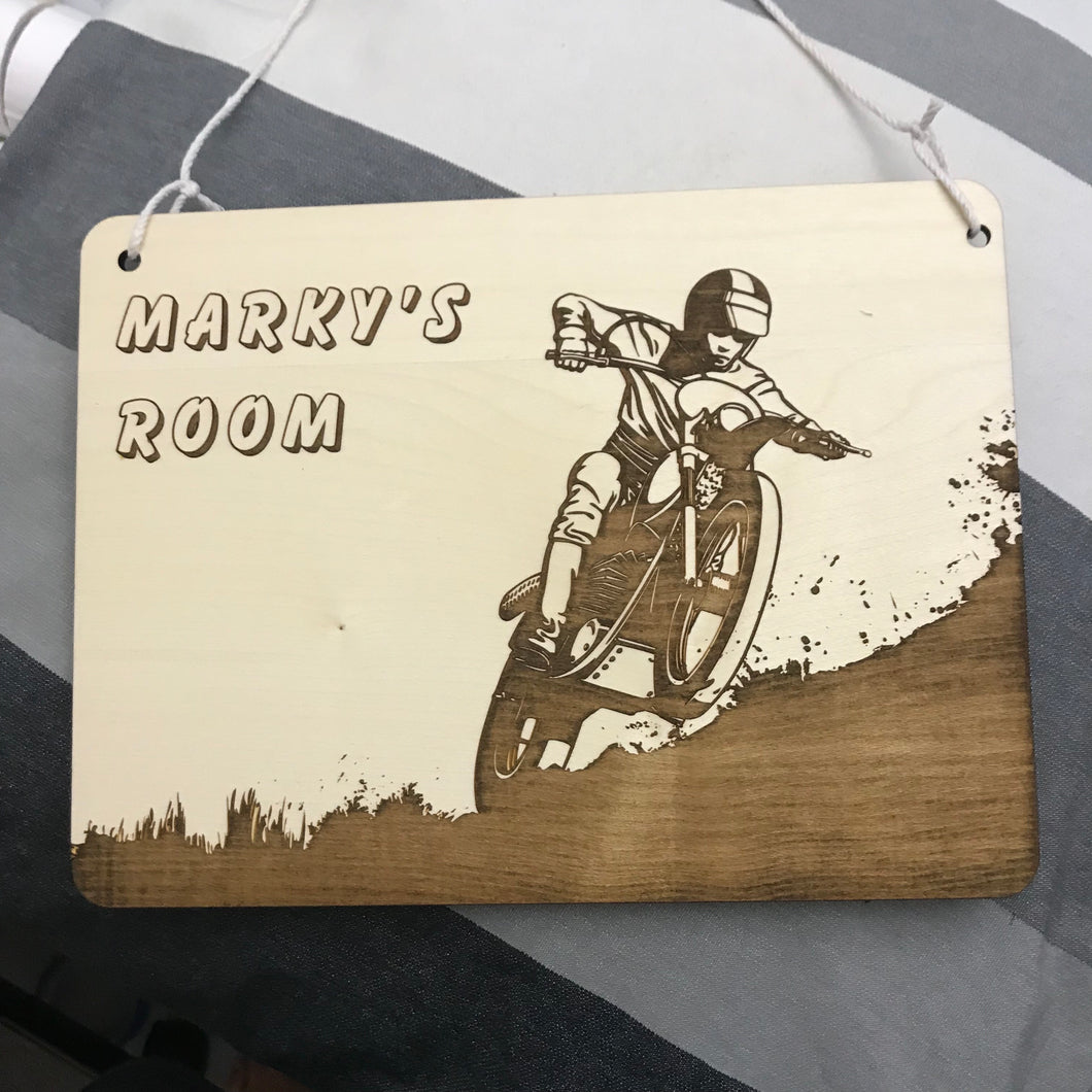 Kids Hanging Name Tag (Dirt Bike) with Custom Engraving - Wilson-Made