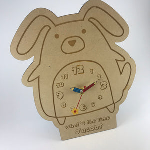 Kids Hanging Clock (Cute Dog) with Custom Engraving - Wilson-Made