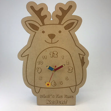 Kids Hanging Clock (Cute Deer) with Custom Engraving