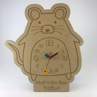 Kids Hanging Clock (Cute Mouse) with Custom Engraving