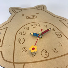 Load image into Gallery viewer, Kids Hanging Clock (Cute Pig) with Custom Engraving - Wilson-Made