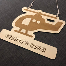 Load image into Gallery viewer, Kids Hanging Name Tag (Cute Helicopter) with Custom Engraving - Wilson-Made