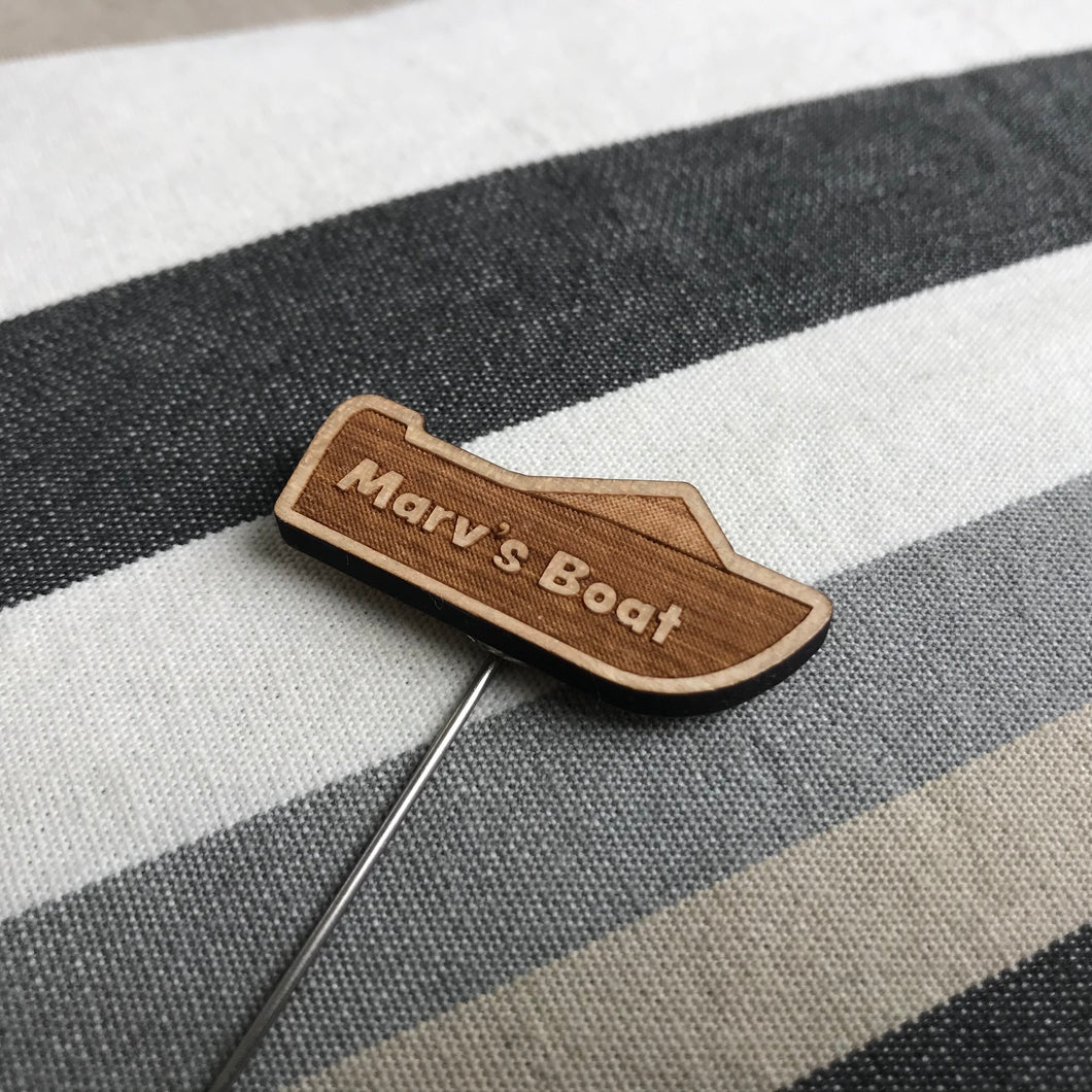 Lapel Pin (Speed Boat) with Custom Engraving - Wilson-Made