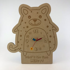Kids Hanging Clock (Cute Cheetah) with Custom Engraving - Wilson-Made