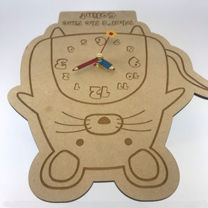 Kids Hanging Clock (Cute Mouse) with Custom Engraving - Wilson-Made