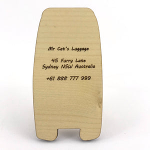 Luggage Tag (Drawn Cat) with Custom Engraving - Wilson-Made