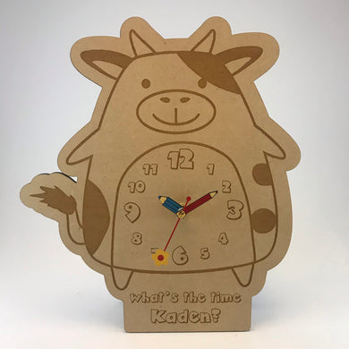 Kids Hanging Clock (Cute Cow) with Custom Engraving - Wilson-Made