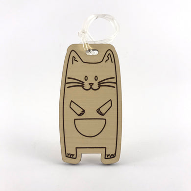 Luggage Tag (Drawn Cat) with Custom Engraving