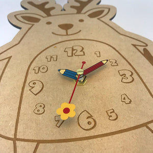 Kids Hanging Clock (Cute Deer) with Custom Engraving - Wilson-Made