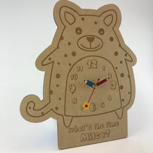 Load image into Gallery viewer, Kids Hanging Clock (Cute Cheetah) with Custom Engraving - Wilson-Made