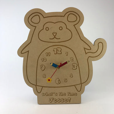 Kids Hanging Clock (Cute Monkey) with Custom Engraving