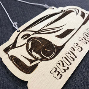 Kids Hanging Name Tag (Sportscar) with Custom Engraving - Wilson-Made