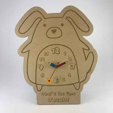 Kids Hanging Clock (Cute Dog) with Custom Engraving