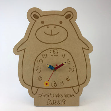 Kids Hanging Clock (Cute Hippo) with Custom Engraving