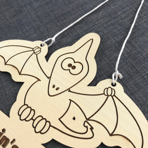 Kids Hanging Name Tag (Pterodactyl) with Custom Engraving - Wilson-Made