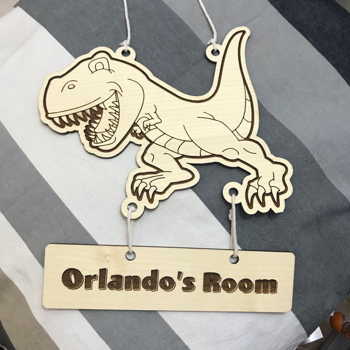 Hanging Name Tag (T-Rex) with Custom Engraving - Wilson-Made