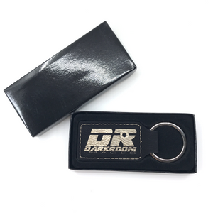 Leatherette Key Ring with Custom Logo Engraving (Black) - Wilson-Made
