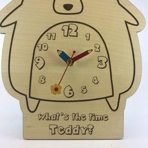 Kids Hanging Clock (Cute Bear) with Custom Engraving - Wilson-Made