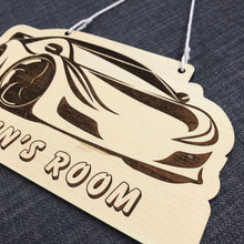 Load image into Gallery viewer, Kids Hanging Name Tag (Sportscar) with Custom Engraving - Wilson-Made