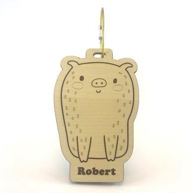 Luggage Tag (Cute Pig) with Custom Engraving - Wilson-Made