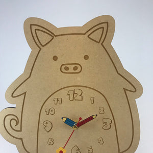 Kids Hanging Clock (Cute Pig) with Custom Engraving - Wilson-Made