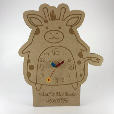 Hanging Clock (Cute Giraffe) with Custom Engraving - Wilson-Made