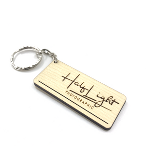 Wooden Keyring with Custom Logo - Wilson-Made