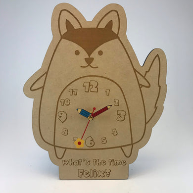 Kids Hanging Clock (Cute Fox) with Custom Engraving