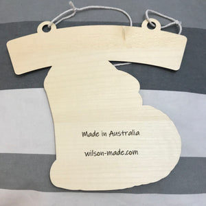 Kids Hanging Name Tag (Cute Howling Wolf) with Custom Engraving - Wilson-Made