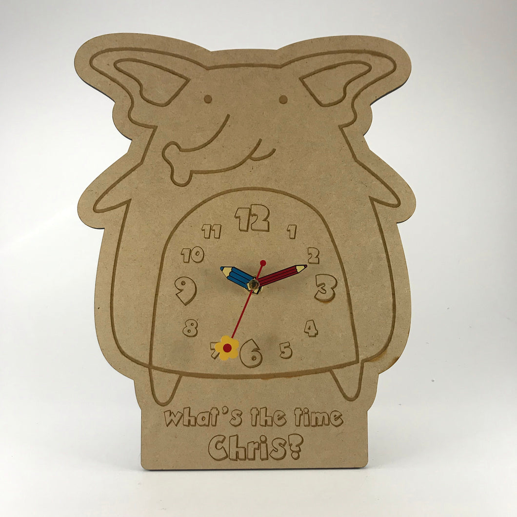 Kids Hanging Clock (Cute Elephant) with Custom Engraving - Wilson-Made