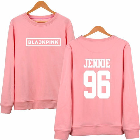 Blackpink Letter Printed Hoodies JENNIE ROSE LISA Pink Fleece Hoodie - iamkpopped