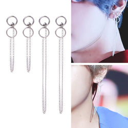 Bangtan DNA V Kim Tae Hyung Titanium Stainless Tassel Earrings - iamkpopped