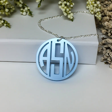 Custom 3 Three Letter Monogram Gatsby Pendant Acrylic Laser Cut Closing Gift