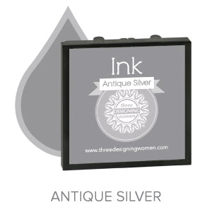 Antique Silver Replaceable Stamper Ink Pad Good for Over 1000 Impressions