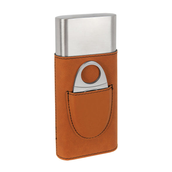 custom engraved vegan leather cigar case with cutter perfect closing gift