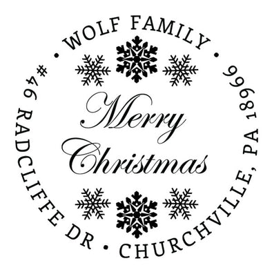 Custom Merry Christmas Round Address Stamp