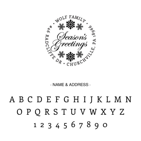 Custom Season's Greetings Round Address Stamp