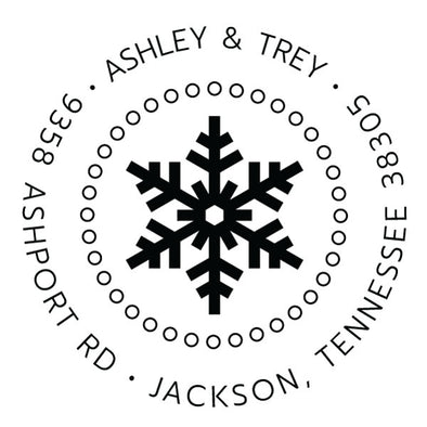 Custom Snowflake Round Address Stamp