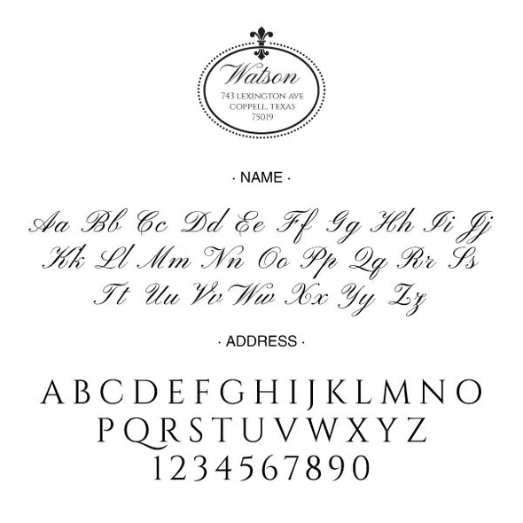Round Square Fleur De Lis Return Address Last Name Custom Designer Stamp Alphabet and Font Used