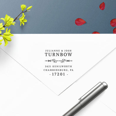 Full Name Couple Return Address Custom Designer Stamp