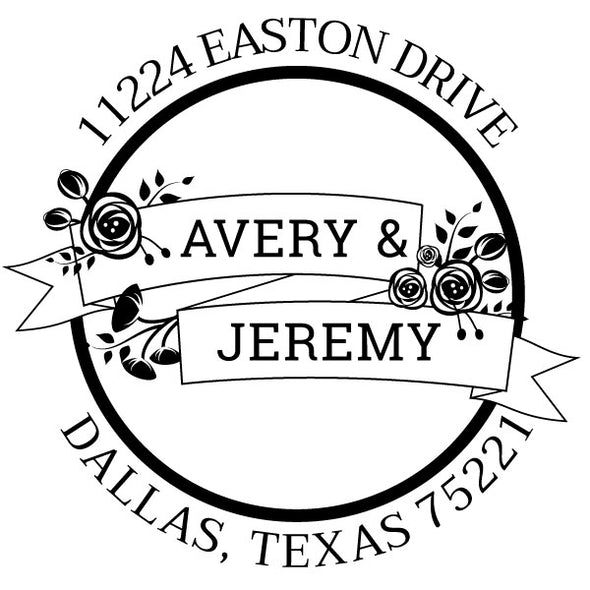 Round Return Address Couple or Roommate Custom Designer Stamp