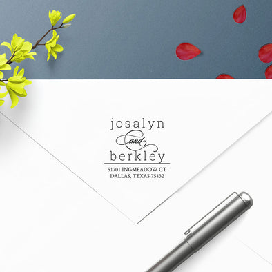 Couple and Roommate Name Return Address Custom Designer Stamp