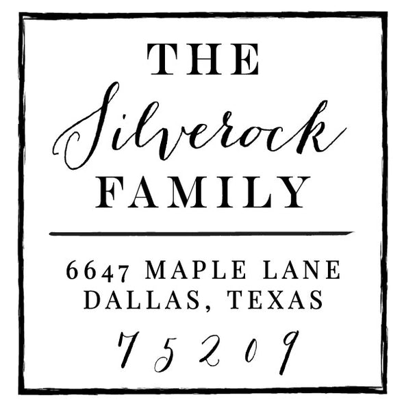 Square Return Address Last Name Family Custom Designer Stamp