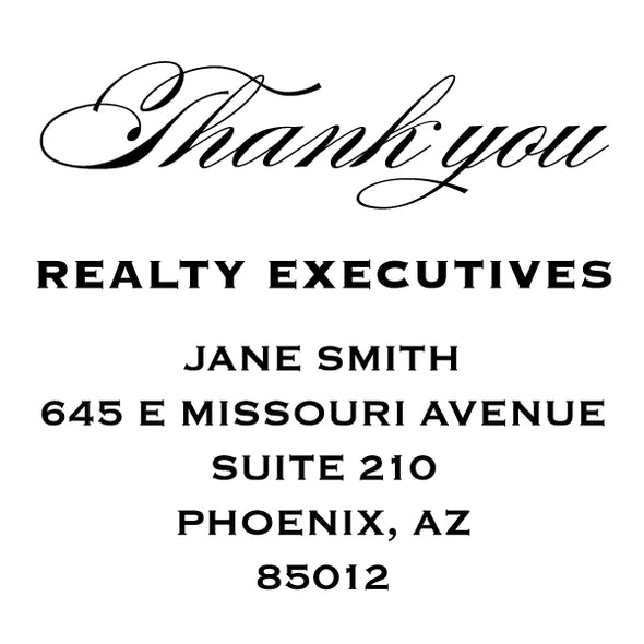 Realty Executive Branded Thank You Name and Address Custom Designer Stamp