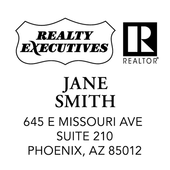 Realty Executive Branded Name and Address Custom Designer Stamp