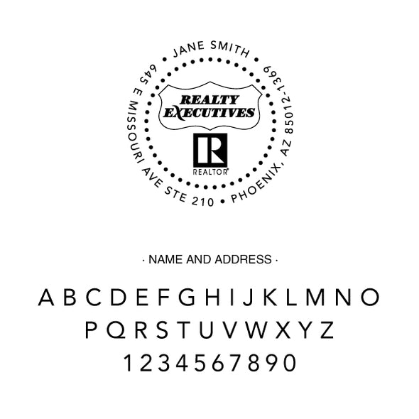 Realty Executive Branded Round Name and Address Custom Designer Stamp
