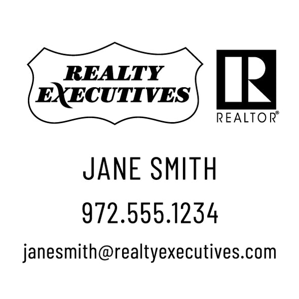 Realty Executive Branded Name and Contact Info Custom Designer Stamp